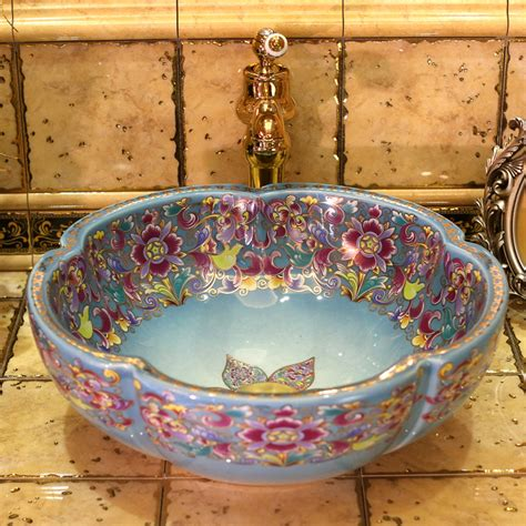 Handmade Ceramic Sinks - europe vintage style porcelain countertop basin sink