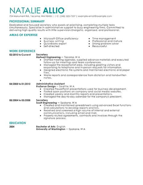 secretary resume berathen com