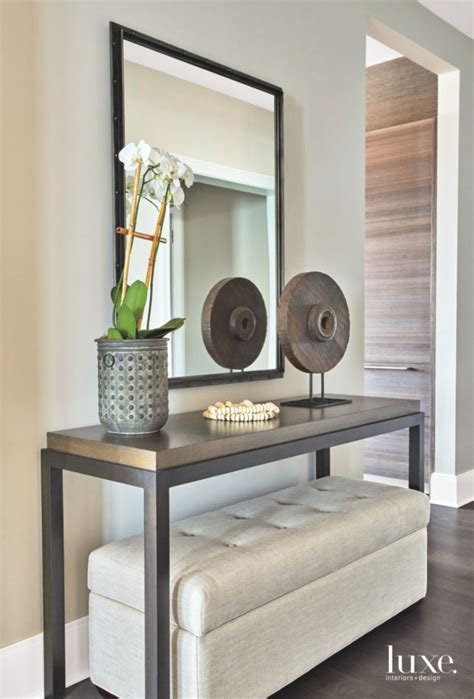 Entryway Table With Stools Underneath by Functional Entryway In Contemporary Chicago Apartment