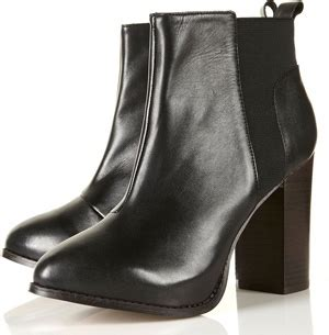 Elasticated Pull On At Topshop by Topshop Antonia Black Elasticated Side Heeled Ankle Boots 8