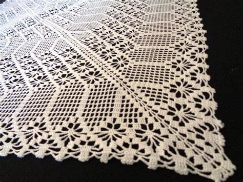 Handmade Lace Tablecloth - crochet tablecloth square table runner handmade lace