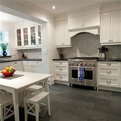 White Kitchen With Gray Floor Tiles   Design, decor