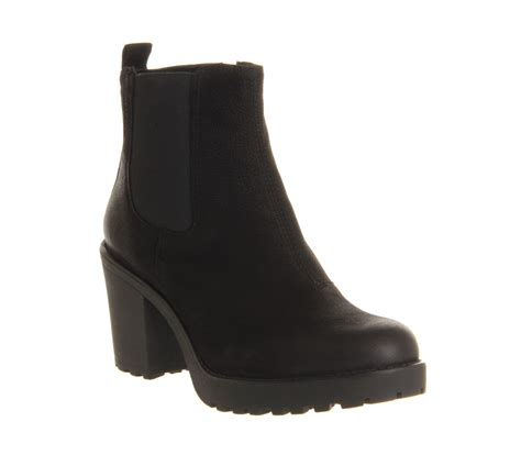 black boot womens vagabond grace heeled chelsea black nubuck boots ebay