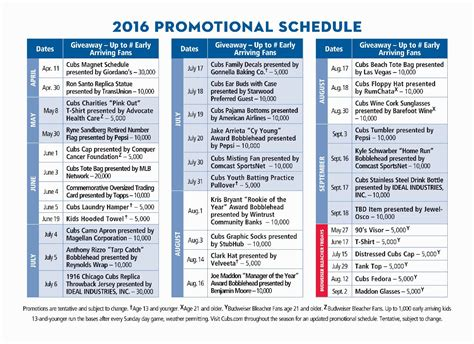 Dodger Giveaway Schedule - cubs announce 2016 promotional schedule including 1916
