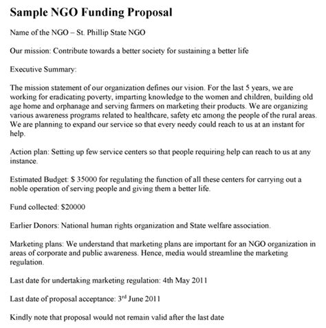 proposal format sle for ngo ngo funding proposal template