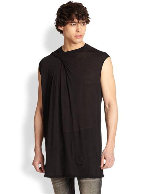 draped tank top lyst drkshdw by rick owens draped tank top in black for men
