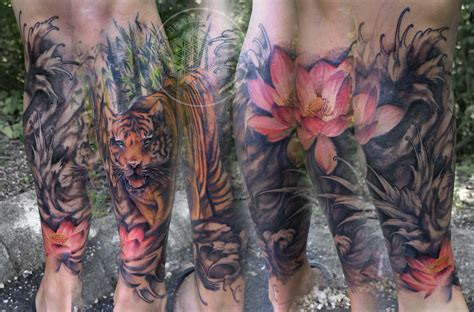 tiger lotus tattoo japanese tiger lotus wave lower leg sleeve in black and