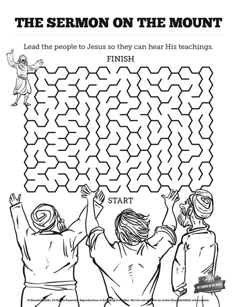 coloring pages of jesus sermon on the mount sermon on the mount beatitudes bible mazes with just