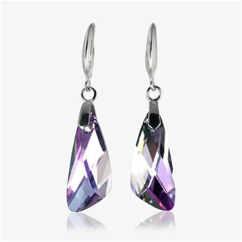 with swarovski crystals roxanne sterling silver drop earrings made with swarovski