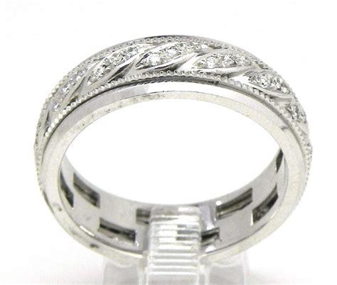 s 14k white gold swirl diamonds wedding band ring
