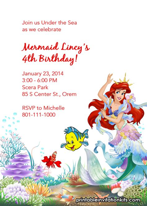 printable birthday invitations little mermaid free little mermaid party invitations