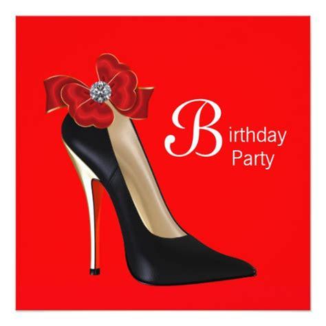 high heel shoe invitation template black high heel shoe birthday invitation zazzle