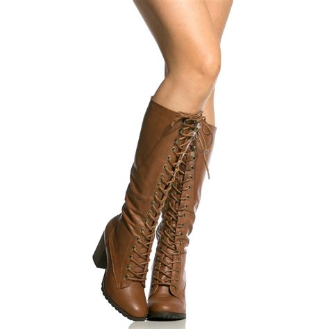 lace up chunky heel knee high combat boots