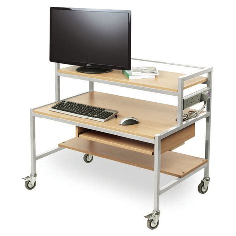 Desks For Two Computers Two Tier Computer Trolley Desk