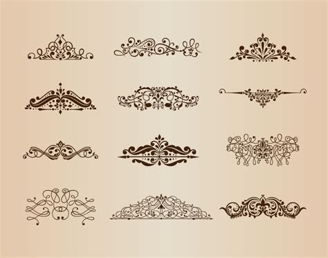 retro vintage design elements vector set vector set of vintage ornaments with floral design