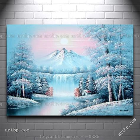 waterfall  snow covered trees mountain oil painting