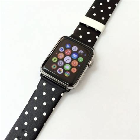 Printed Leather Band For Apple 38mm Flower Rural polka dots black flowers apple band 38 42 mm ultracase