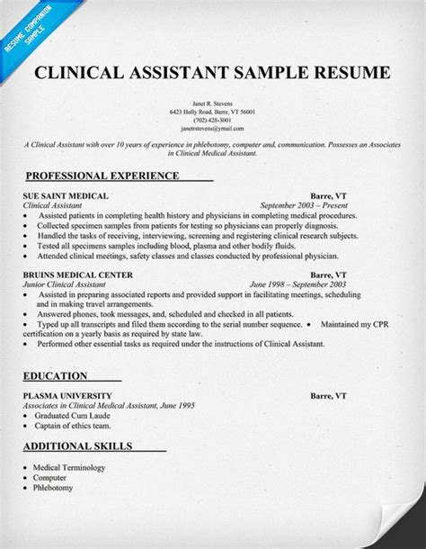 Resume Sles For Clinical Writing Tips Assistant And Resume Writing On