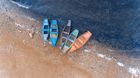 fishing boat top view fishing boat the beautiful water in a good day aerial