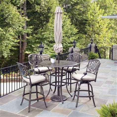 home styles taupe 5 patio bistro set with umbrella