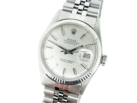 Rolex Silver mens rolex datejust ss w silver 18k white
