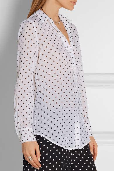 Blouse Motif Polkadot T2610 theory biritta polka dot silk crepon blouse net a porter