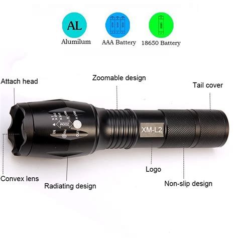 Senter Led Tactical Cree Xm L 8000 Lumens cree xm l2 led tactical flashlight 8000 lumens 5 modes zoomable ishop home