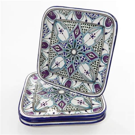 Malika Square Malika le souk ceramique set of 4 malika design square plates