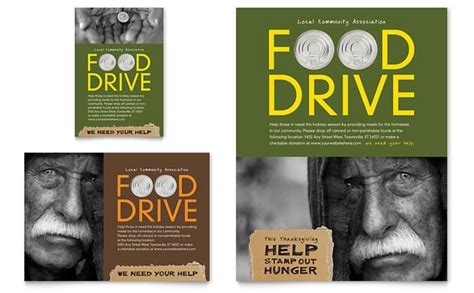 holiday food drive fundraiser flyer ad template design