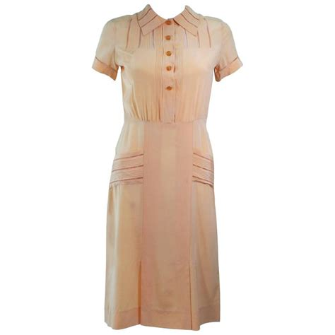 Dress Of The Day Som Silk Dress 2 vintage 1940 s apricot silk day dress size 2 4 for sale at