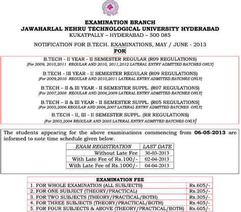 Jntu Mba 3rd Sem Results 2013 by Jntu Hyd Btech 2 2 3 2 Regular Supple Notification