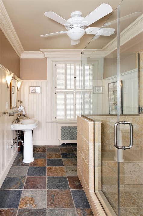 ceiling fan in bathroom slate tile bathroom bathroom contemporary with bath tub concrete floor