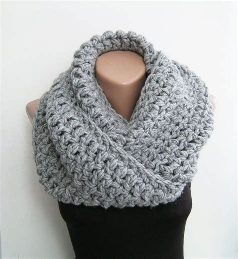 Crocheted Infinity Scarf Gray Chunky Scarf Crochet Infinity Scarf Gray Teal Purple