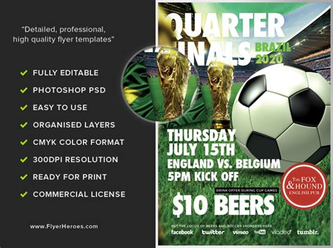 soccer poster template soccer flyer template flyerheroes