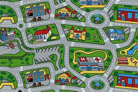 Kids Car Road Non Slip Play Mat Rug X Large Ebay Rug With Roads