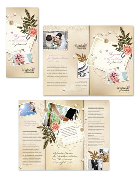 Wedding Planner Tri Fold Brochure Template Free Tri Fold Wedding Brochure Templates