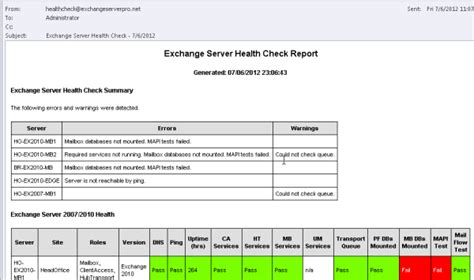 test exchangeserverhealth powershell script to generate