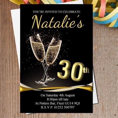 10 Personalised Black Gold Chagne Birthday Party Invitations N196 Any Age Black And Gold Birthday Invitations Templates
