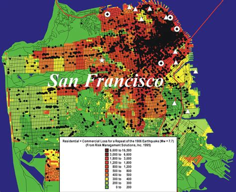 san francisco quake map san francisco earthquake map risk