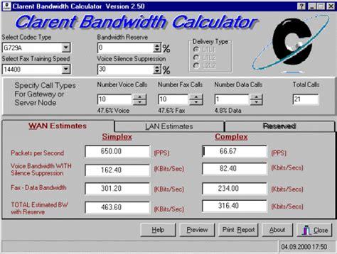 calculator bandwidth some aspects concerning ip telephony