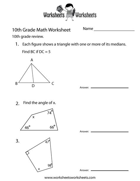 Printable Geometry Worksheets by 10th Grade Math Review Worksheet Free Printable