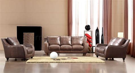 full living room set brown full italian leather modern 3pc living room set