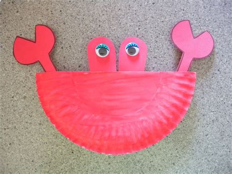 Crab Paper Plate Craft - paper plate crab the sea