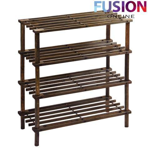 4 tier shoe rack wood 2 3 4 tier slatted shoe rack oak wooden storage stand organizer organiser coffee ebay