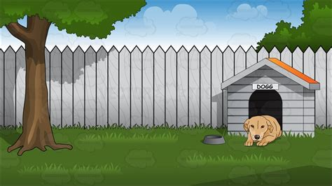 back yard backyard with doghouse background vector clip art cartoon
