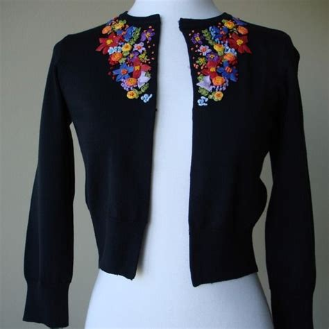 Embroidery Cardigan laundry by shelli segal tops black sweater cardigan