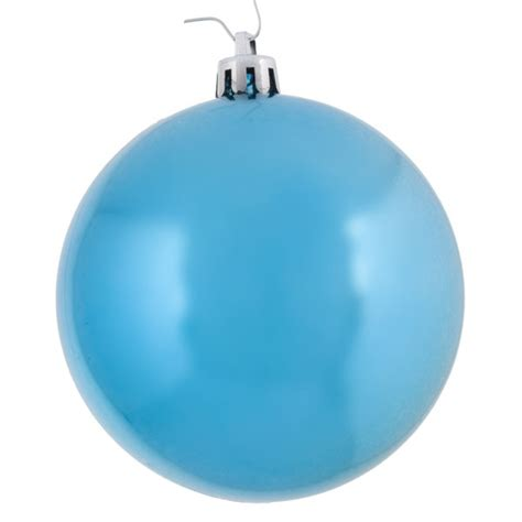 light turquoise baubles shiny shatterproof pack of 6 x