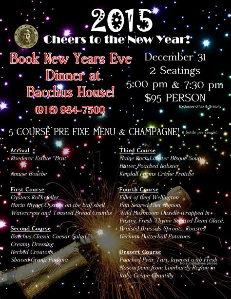 new year 2015 restaurants new years 2015 dinner bacchus house wine bar bistro