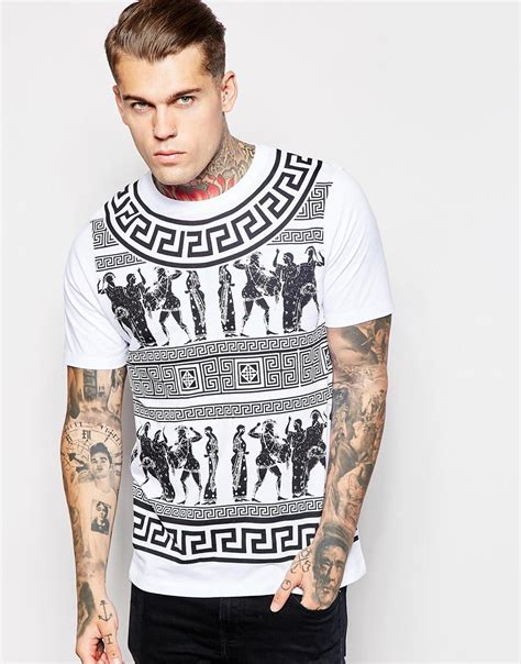 Asos Printed T Shirt Mens by Asos Longline T Shirt With Aztec Print In Relaxed Skater Fit In White For Lyst