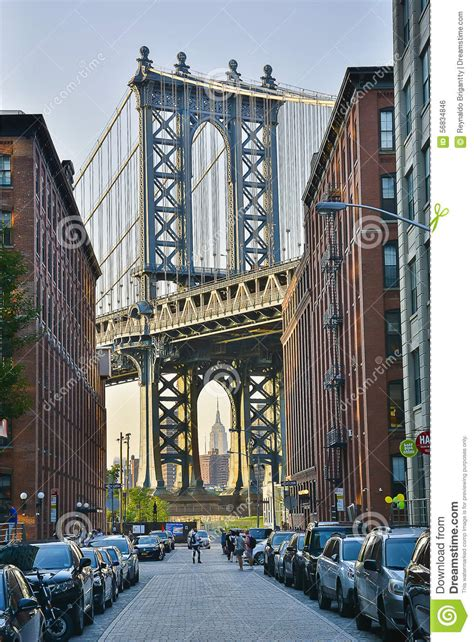 dumbo section of brooklyn a brooklyn street editorial photo image 56834846